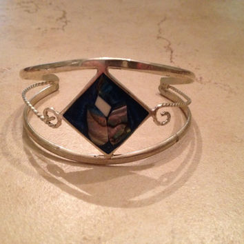 Vintage Alpaca Mexico Cuff Bracelet Silver Teal Abalone Inlay Mexican Boho Jewelry