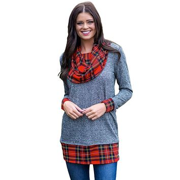 Gray Autumn Wind Plaid Cowl Neck Tunic