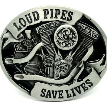 Loud Pipes Save Lives Motorcycle Engine Belt Buckle
