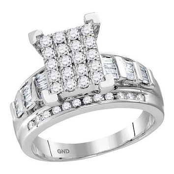 10kt White Gold Women's Round Diamond Cindy's Dream Cluster Bridal Wedding Engagement Ring 1-2 Cttw - FREE Shipping (US/CAN) - Size 10