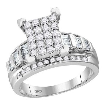 10kt White Gold Women's Round Diamond Cindy's Dream Cluster Bridal Wedding Engagement Ring 1-2 Cttw - FREE Shipping (US/CAN) - Size 8
