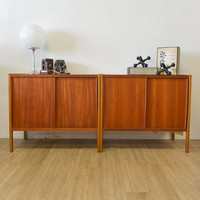 Vintage Swedish Teak Sliding Door Cabinets