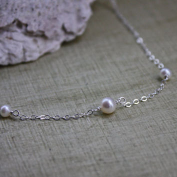 Freshwater Pearl Station Necklace - 3 Pearl Necklace - June Birthstone - Sterling Silver