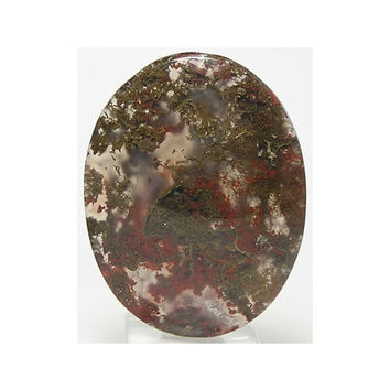 Green and Red Moss Agate Mineral Plumes in Clear Gem Agate Stone Oval Flat Back Cabochon From the Fossil Fields of Utah