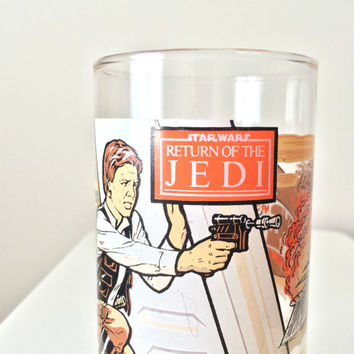 Vintage Star Wars Glass Tumbler, Return of the Jedi, 1983 Burger King and Coca Cola