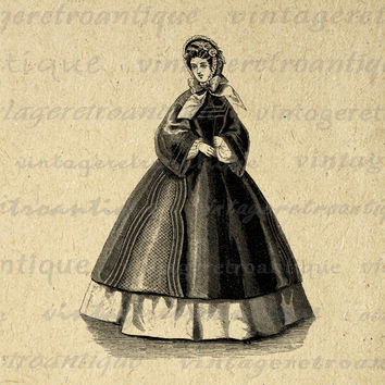 Digital Lady with Antique Dress Image Download Old Fashioned Woman Printable Graphic Vintage Clip Art for Transfers etc HQ 300dpi No.2788