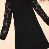 Black Patchwork Lace Round Neck Elegant Polyester Mini Dress