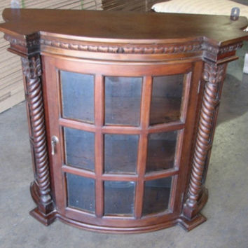 English Barley Twist Mahogany Hanging Wall Curio Cabinet Display