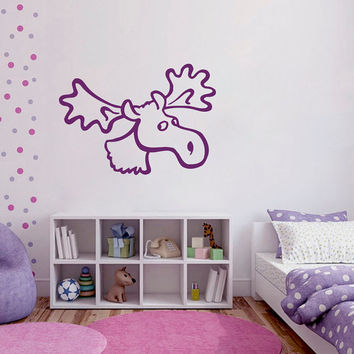Wall Decals  Animals Decal Deer Antler Horns Humor Fauna Girl Boy Bedroom Kids Nursery Children Baby Living Vinyl Sticker Home Decor ML118