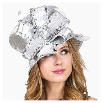 ef802263 Kentucky Derby Church Wedding Party Dressy Flower & Feather Floral Sequin  Silver Hat
