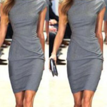 Gray Short Sleeve Midi Dress