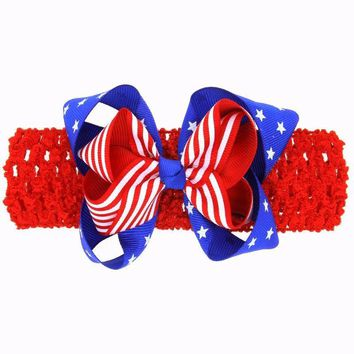 American Flag Clip Bow Hair Accessories