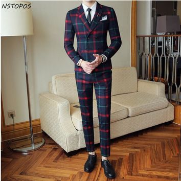 Red Plaid British Style Suit (Set: Jacket +Vest+Pant)