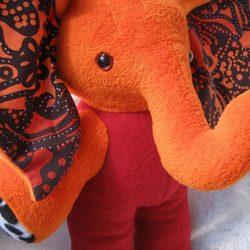 Stuffed ELEPHANT ABORIGINE autumn colors stuffed animal elephant plush Orange BURGUNDY soft toy elephant home decor stuffed animal halloween