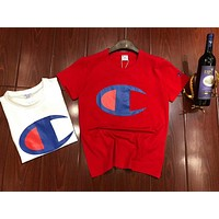 Champion Classic Printed Letter Casual Round Collar Couple T-Shirt Short Sleeve F-MG-FSSH Red