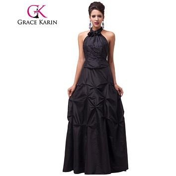 Grace Karin Long Black Formal Evening Dresses Women Elegant Party Dress Halter Robes De Soiree Taffeta Dinner Evening Gowns 2017