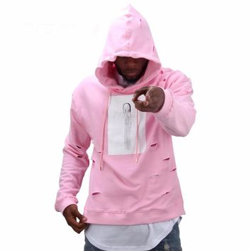 hot sale mens hip hop pink hoodies sweatshirts  men with the hole hoodies men fashion  winter male streetwear   new arrival