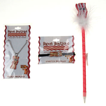Bacon Lovers Jewelry Set 3 I Love Bacon Necklace Bracelet Pen Wobbly Eyes Silver