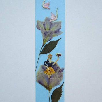 "Handmade unique bookmark ""We Share the same space"" - Pressed flowers bookmark - Unique gift - Paper bookmark - Original art collage."
