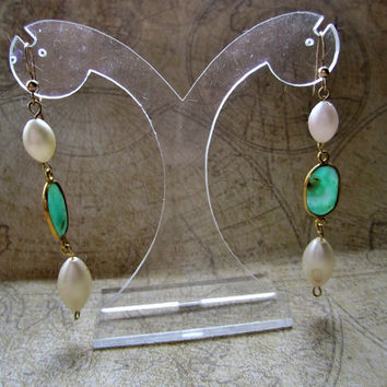 Chrysoprase and Faux Pearl Dangles