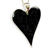 Black Heart Resin Necklace Black Heart Resin Jewellery