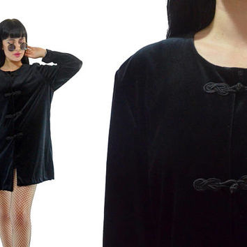vintage 90s black velvet duster jacket oversized top soft grunge gothic vamp witchy knotted minimalist