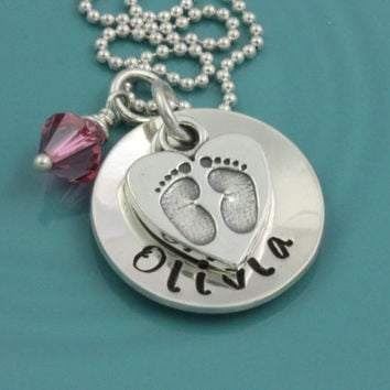 Baby feet charm on personalized name necklace Sterling Silver hand stamped pendant Swarovsky birthstone mommy necklace with footprint charm