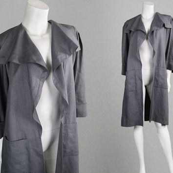 Vintage 80s JEAN MUIR Grey Linen Jacket Minimalist Coat Swing Coat Designer Coat Waterfall Coat Trenchcoat Lagenlook Clothing Avant Garde