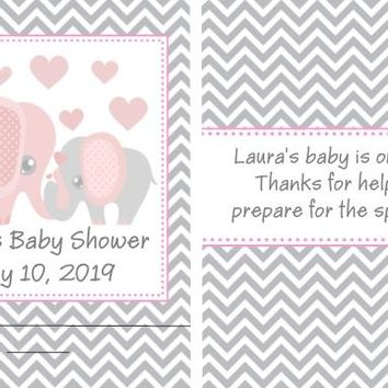 8 Pink Elephant Baby Shower Nail File Favors