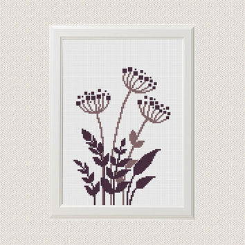 retro Floral cross stitch pattern, Cute cross stitch, nature cross stitch, Summer cross stitch, Easy Cross Stitch, home decor DIY project