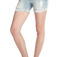 WallFlower Juniors Luscious Curvy Mid Thigh Denim Shorts in Angelina Size: 1