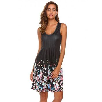 Ruched Sleeveless Floral Slim Tank Dress