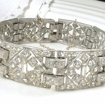 Antique 1920s Art Deco Clear Pave Rhinestone Wide Link Bracelet, Gatsby Bridal Jewelry, Vintage Flapper Paste Crystal Statement Bracelet