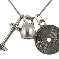 """Fitness Weight Lifting Body Builder 45lb Weight Plate/Kettlebell/Barbell Pendant Necklace, 21.5"""" (45lb Weight Plate/Kettlebell/Barbell)"""
