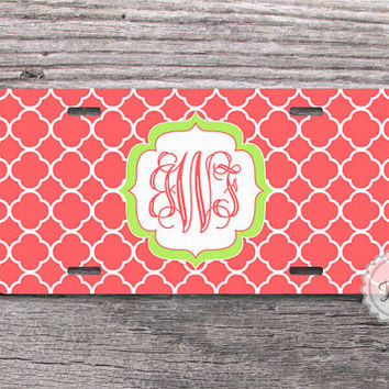 Coral quatrefoil and soft green monogrammed license plate custom car tag