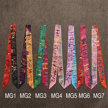 New women h letter print imitated Silk small Twilly Decoration Scarf Ribbon Hair Band bag Handles Bow Tie Multifunction ribbon