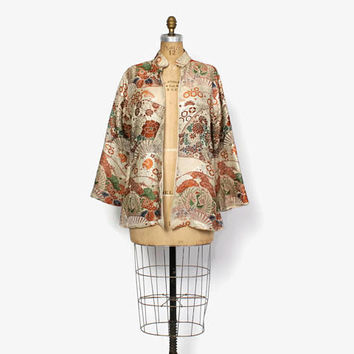 Vintage 40s Asian Brocade JACKET / 1940s Silk Embroidered & Metallic Swingy Jacket