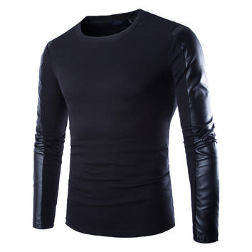 Mens leather sweatshirt Black Long Sleeve PU Spell Leather Round Collar Wear Fitness Compression Shirt Men Pullover Clothing