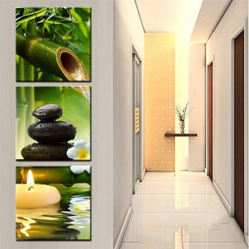 Wall Canvas Art Panel Print Poster Wall Modular Picture 3 PIeces Panel Bamboo