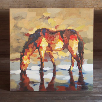 Oil Painting ~ Multi Colored Standing Horse