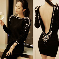 Sexy Clup Dress Embellished Plastic Pearls Decoration Beaded Long Sleeve Backless Mini Dress