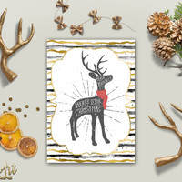 Christmas Card Printable Deer Holiday Postcard Gold Foil Xmas Card Cute Deer Printable Christmas card DIY Christmas card Digital Download
