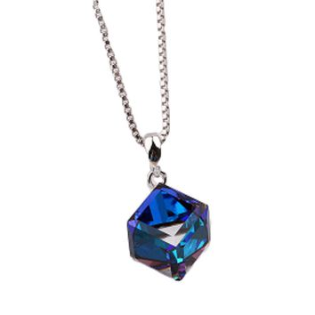 Without chain Sterling Silver Crystal Necklace Pendant Aurora love cube sugar chain clavicle female silver jewelry