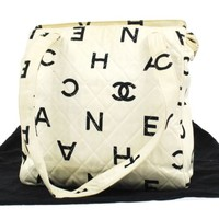 Auth CHANEL Quilted CC Logos Shoulder Bag Off-White Canvas Vintage France 323e