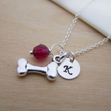 Dog Bone Charm Swarovski Birthstone Initial Personalized Sterling Silver Necklace / Gift for Her