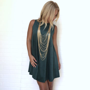 Evergreen Suede Shift Dress
