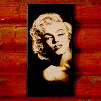 Marylin Monroe art - woodburned home decoration