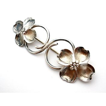 Vintage Sterling Silver Dogwood Brooch Pin by Stuart Nye