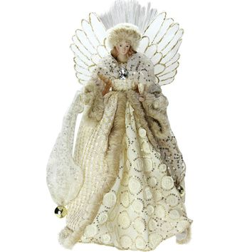 "16"" Lighted Fiber Optic Angel in Golden Sequined Gown Christmas Tree Topper"