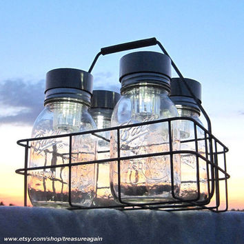Ball Jars Solar Basket Canning Jars 4 Outdoor Lighting Antique Milk Bottle Carrier Dairy Basket Canning Fruit Jars Mason Jar Solar Lights